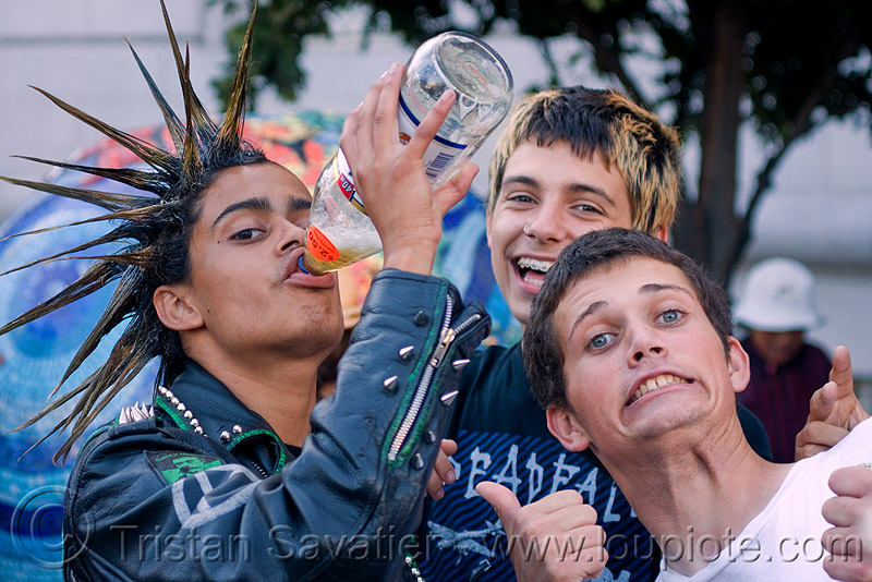 spiky hair - punk guy, drinking, festival, guys, kids, love fest, lovevolution, men, punks, skunk, spikes, spiky hair, viktor