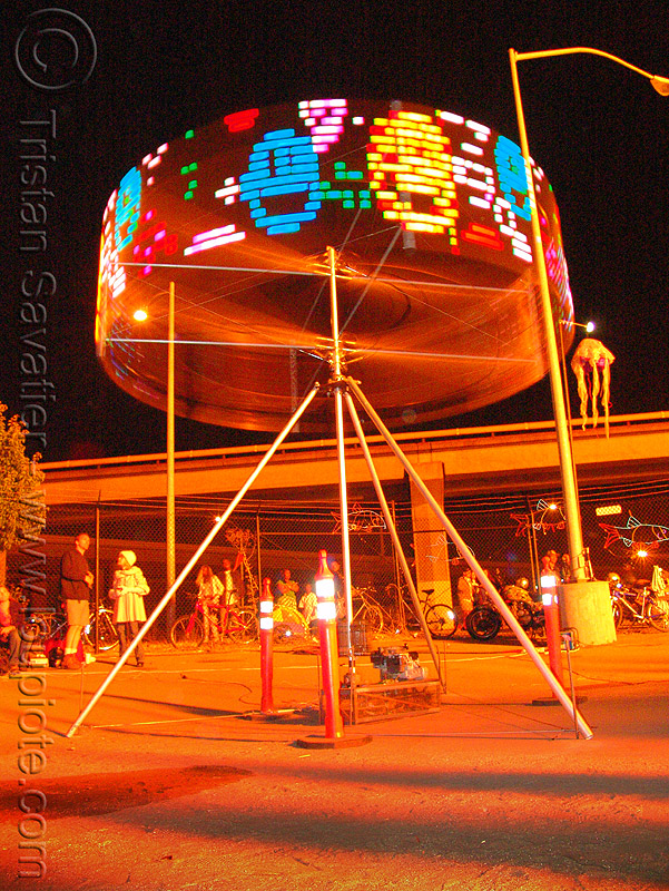 spinning art installation with LED lights, art installation, fire art, fire arts festival, led lights, spinning, the crucible