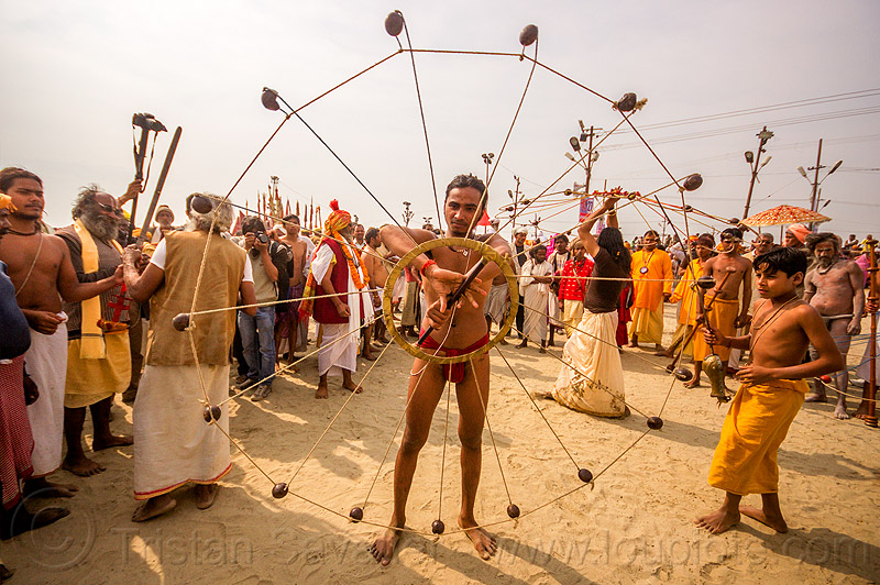 spinning balls and ropes in circle (india), crowd, game, hindu, hinduism, indian spinning balls, kumbha mela, maha kumbh mela, man, metal balls, performer, ropes, spectators