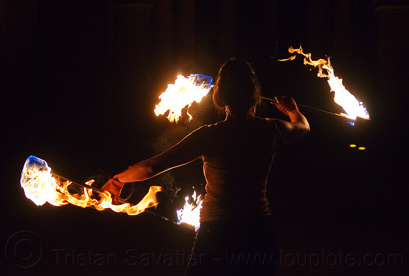 spinning double fire staff, backlight, double staff, fire dancer, fire dancing, fire performer, fire spinning, fire staffs, fire staves, flames, night, people, savanna, spinning fire, woman