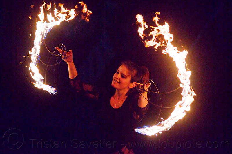 spinning fire fans, ally, fire dancer, fire fans, fire spinner, flames, justin herman plaza, night, woman