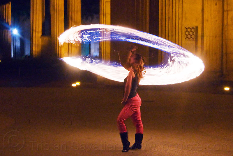 spinning a fire rope, ally, columns, fire circle, fire dancer, fire dancing, fire performer, fire rope, fire spinning, night, palace of fine arts, woman