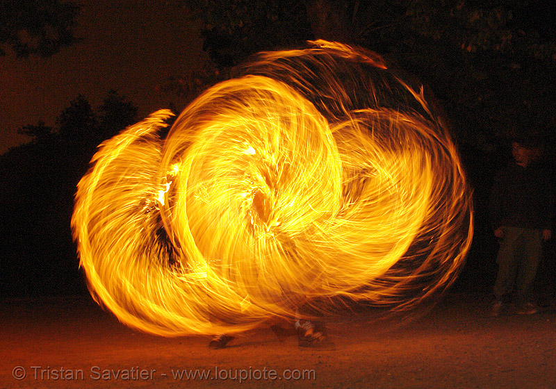 spinning fire ropes (san francisco), fire dancer, fire dancing, fire performer, fire spinning, flames, long exposure, night