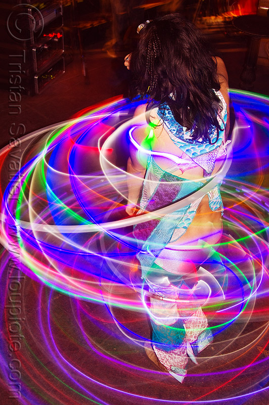 spinning LED hoops, cell space, glowing, grace hoops, hooper, hula hoop, led hoops, led hula hoops, led lights, led-light, light hoop, long exposure, night, underground party, warehouse party, woman