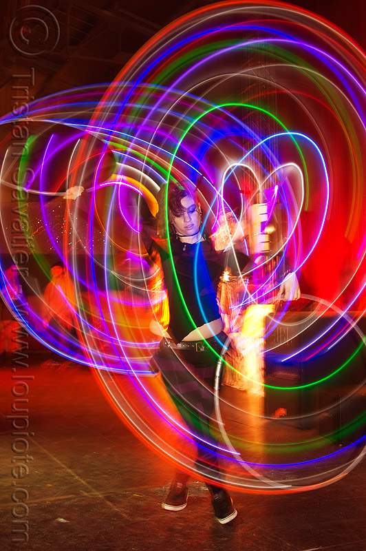 spinning LED hoops, cell space, glowing, hooper, hula hoop, led hula hoops, led lights, led-light, light hoop, long exposure, night, people, stefanie dreamzzz, underground party, warehouse party, woman