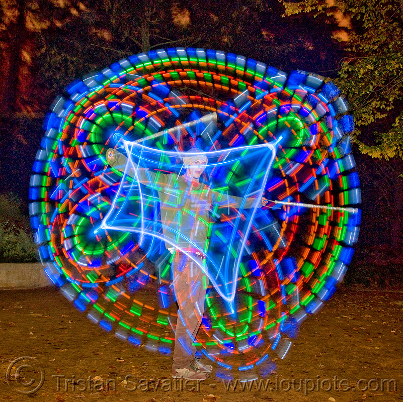 spinning LED light poi - glowing - flowlight, fire dancer, fire dancing, fire performer, fire spinning, flowlights, flowtoys, glowing, led lights, led poi, light poi, long exposure, man, nicky evers, night, spinning fire