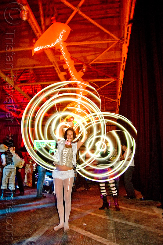 spinning light hulahoops - ghostship halloween party on treasure island (san francisco), costume, ghostship 2009, glowing, halloween, hula hoop, led-light, long exposure, rave party, space cowboys