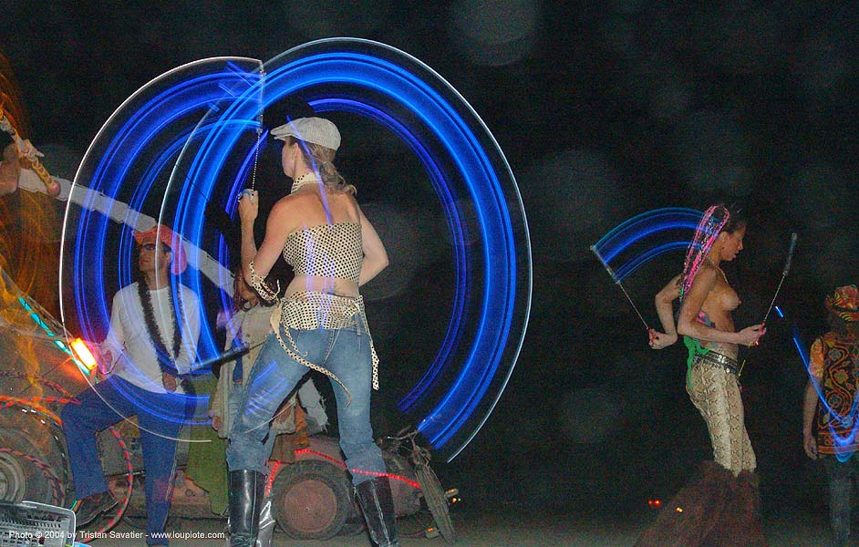 spinning light poi - burning-man 2004, art, burning man, light poi, long exposure, night, spinning light