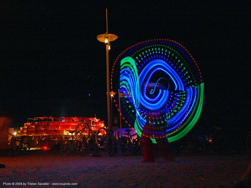 spinning light poi - burning-man 2004, art, burning man, light poi, light spinning, long exposure, night