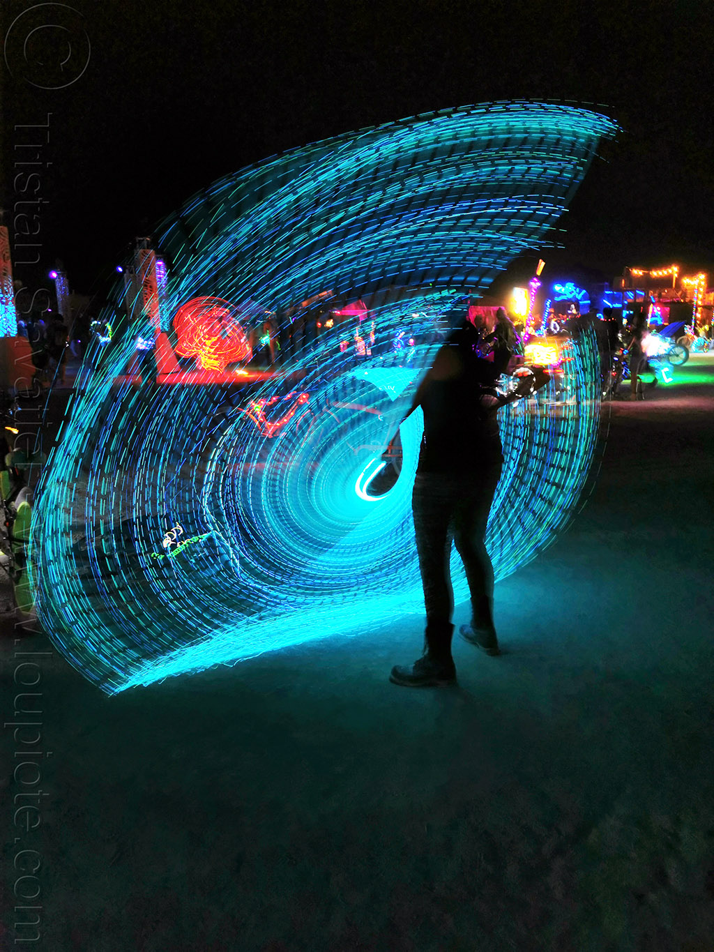 spinning a light wire - burning man 2019, blue, burning man, glowing, light painting, night