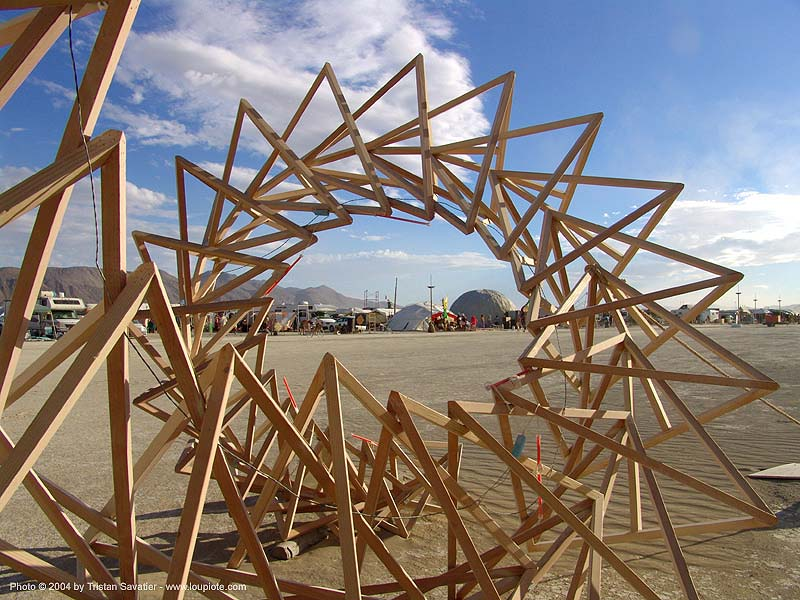 spiral art - burning-man 2004, art installation, burning man, spiral, wood
