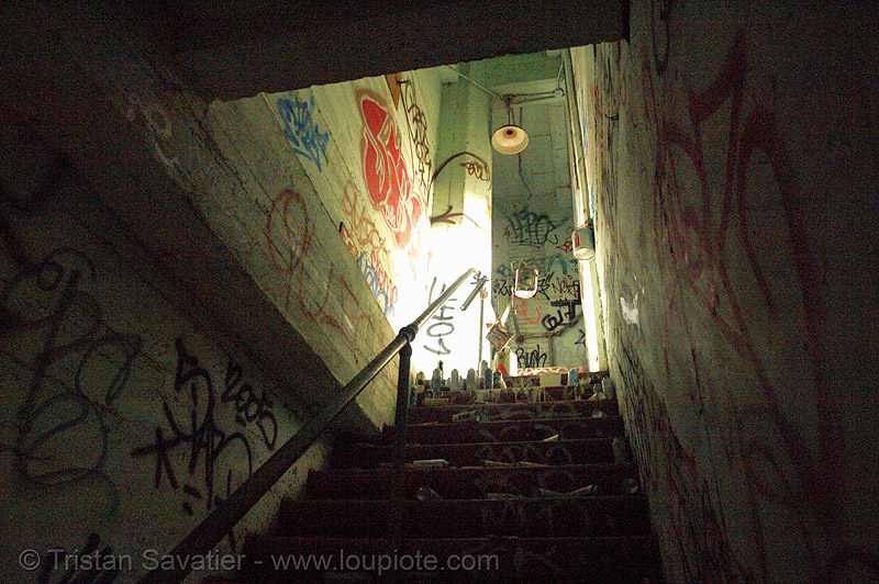 spray paint cans on stairs, derelict, graffiti, spray paint cans, stairs, street art, tie's warehouse, trespassing