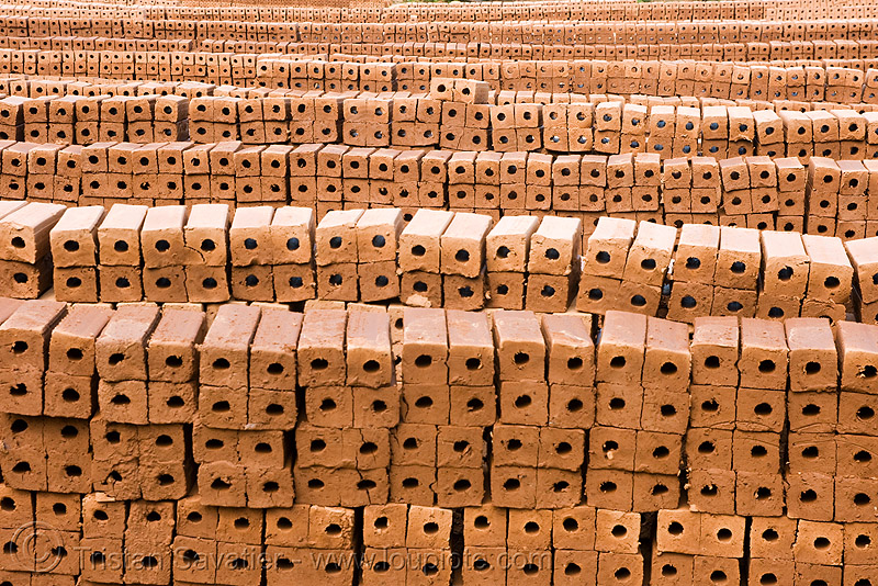 bricks, brick kiln, crafts, handwork, luang prabang, stacked, walls