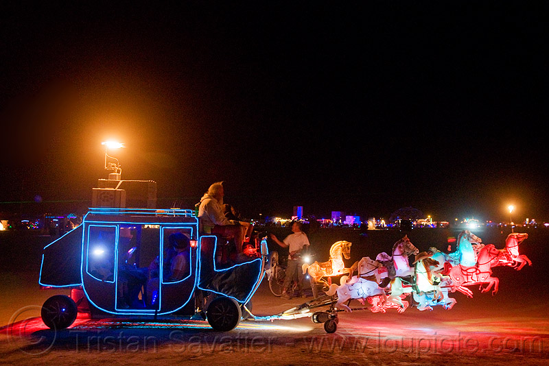 stagecoach art car - burning man 2009, art car, burning man, horse carriage, horses, night, stagecoach