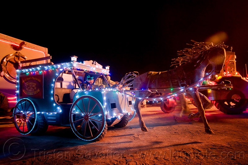stagecoach art car - burning man 2009, burning man, horse carriage, night, stagecoach, unidentified art car