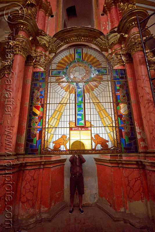 stained glass in the cathedral - potosi (bolivia), backlight, catedral de potosí, cathedral, church, columns, cross, emiliano, interior, religion, sacred art, stained glass, sun rays