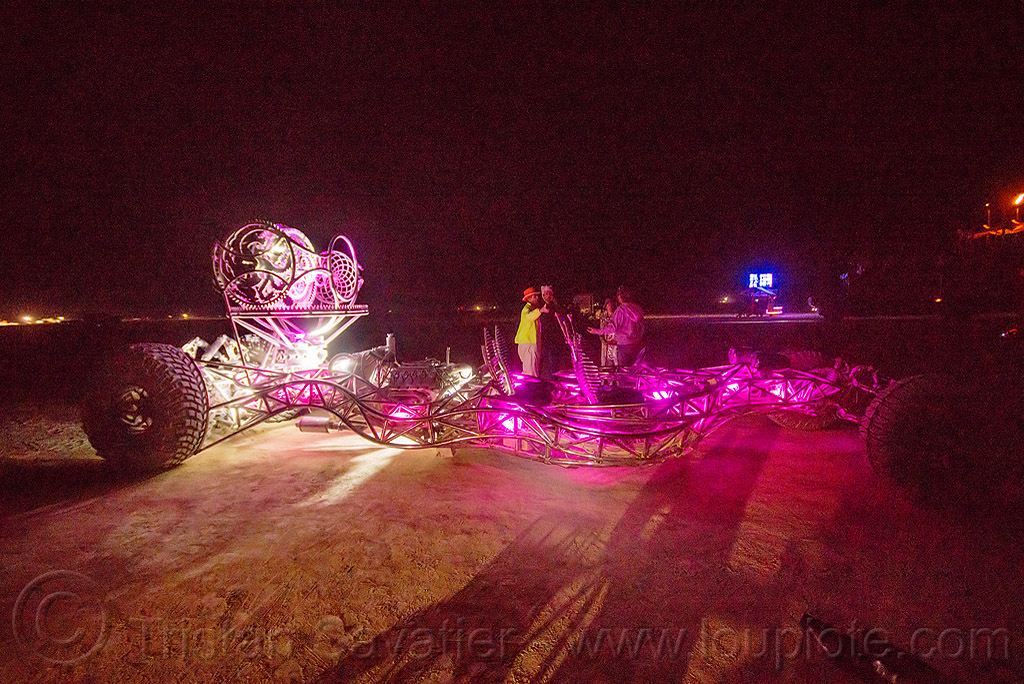 stainless steel art car - burning man 2015, art car, burning man, frane, glowing, henry chang, mutant vehicles, night