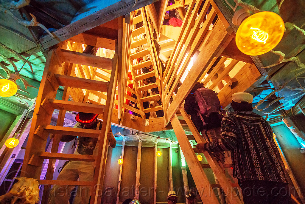 stairs in the lighthouse - burning man 2016, art installation, black rock lighthouse, burning man, inside, interior, light house, night, stairs