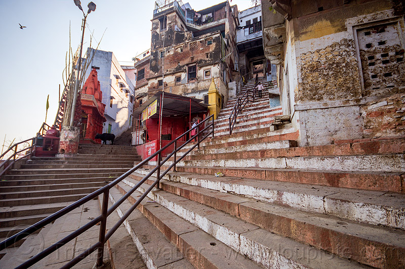 stairs street near the ghats of varanasi (india), steep, steps