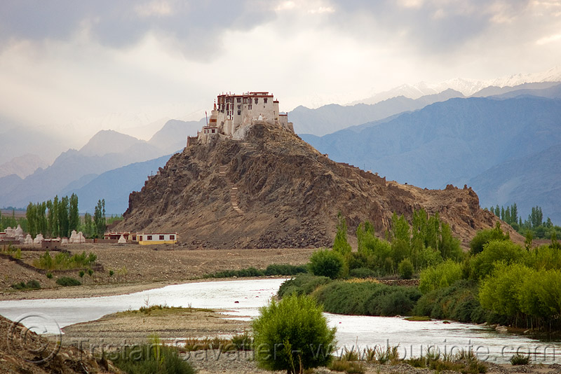 stakna gompa (monastery) - leh valley - ladakh (india), hill, mountains, river, tibetan, tibetan monastery