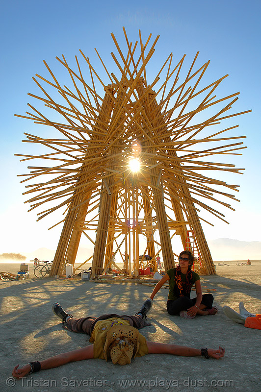 starry bamboo mandala - burning-man 2006, art, art installation, burning man, gerard minakawa