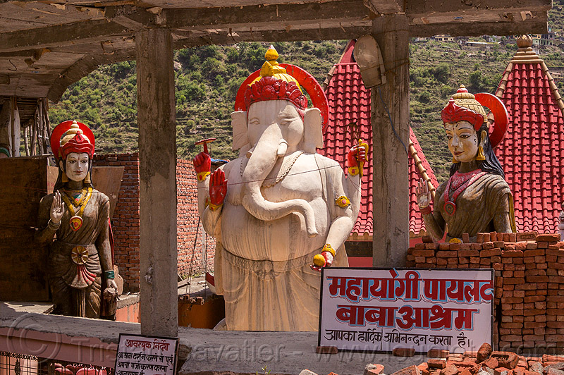 statue of ganesha in pilot baba ashram near bhagirathi river (india), bhagirathi valley, ganesh, ganesha, hindi, hinduism, pilot baba, sculpture, signs, statue
