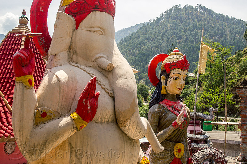 statue of ganesha in pilot baba ashram on road to gangotri (india), bhagirathi valley, ganesh, hinduism, sculpture