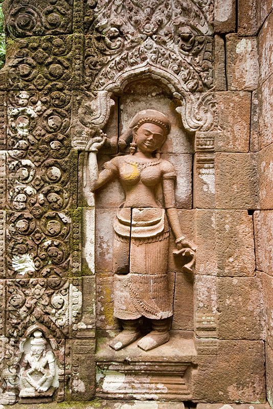 statue of khmer goddess holding her pony-tail - wat phu champasak (laos), asian woman, carving, goddess, hindu temple, hinduism, khmer temple, main shrine, ruins, sanctuary, sculpture, statue, stone, wat phu champasak