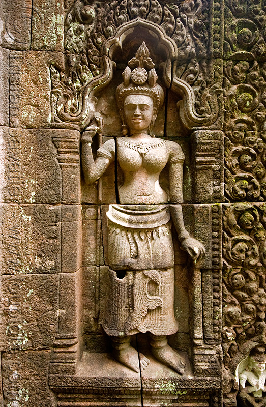 statue of khmer goddess - wat phu champasak (laos), asian woman, carving, hinduism, khmer temple, main shrine, ruins, stone