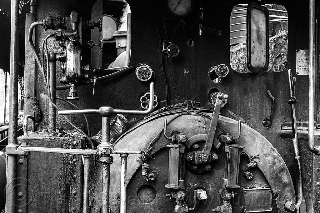 steam locomotive controls and valves (india), cab, darjeeling himalayan railway, darjeeling toy train, narrow gauge, railroad, steam engine, steam locomotive, steam train engine, valves