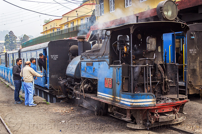 steam locomotive coupling to passenger train - darjeeling station (india), 782 mountaineer, cab, darjeeling himalayan railway, darjeeling toy train, men, narrow gauge, railroad, smoke, smoking, steam engine, steam locomotive, steam train engine, train cars, train station