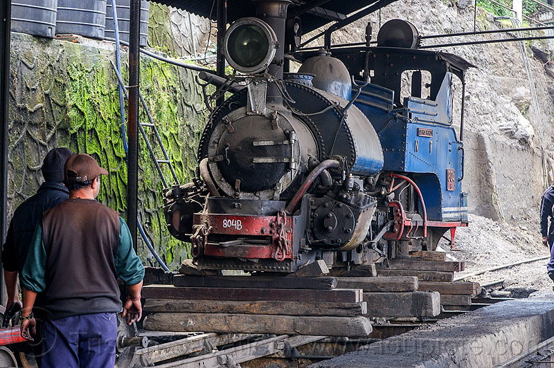 "steam locomotive ""queen of the hills"" undergoing maintenance at the darjeeling train yard (india), 804, 804 queen of the hills, darjeeling himalayan railway, darjeeling toy train, men, narrow gauge, people, railroad, steam engine, steam train engine, train depot, workers"