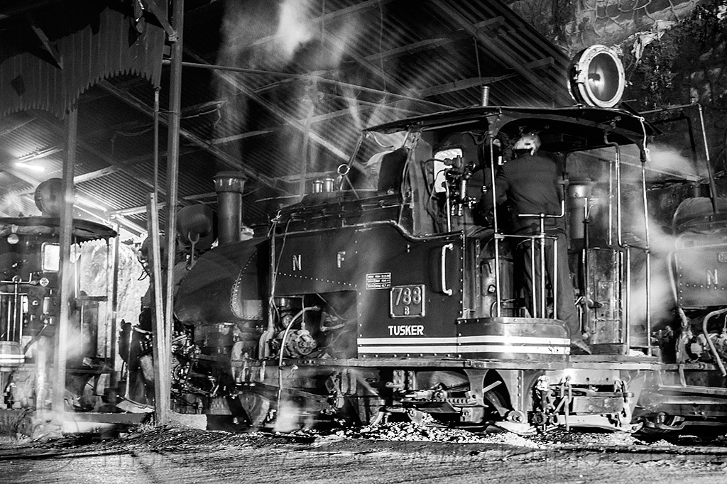 steam locomotives - darjeeling himalayan railway (india), 788 tusker, darjeeling himalayan railway, darjeeling toy train, man, narrow gauge, night, railroad, smoke, smoking, steam engine, steam locomotive, steam train engine, train depot, train yard, worker