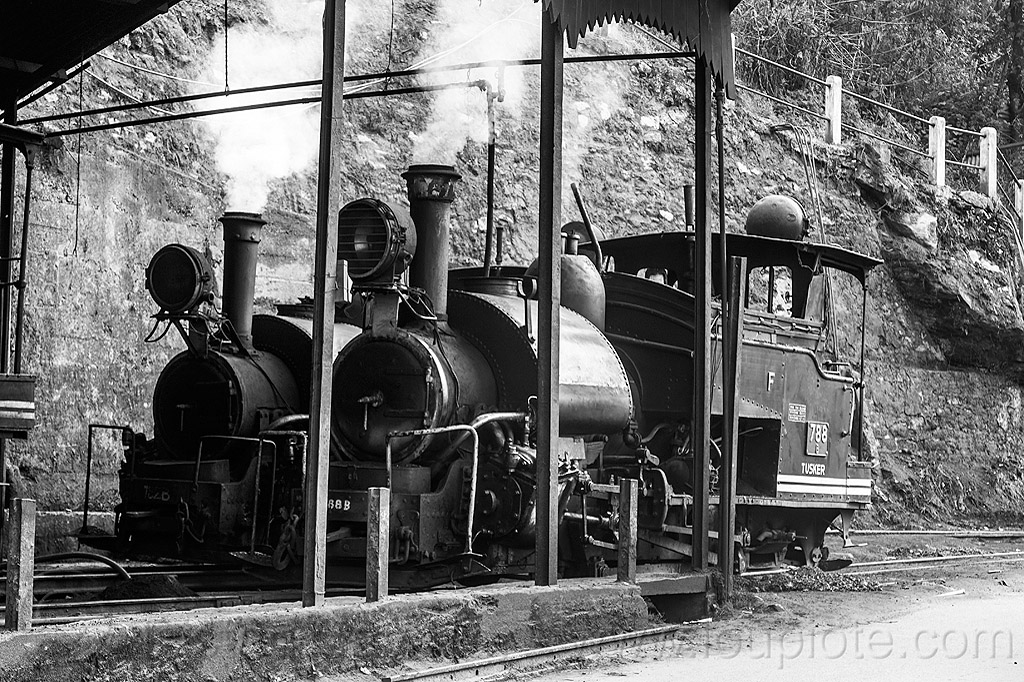 steam train engines - darjeeling (india), 782, 782 mountaineer, 788, 788 tusker, darjeeling himalayan railway, darjeeling toy train, locomotive, narrow gauge, railroad, smoke, smoking, steam engine, steam locomotive, steam train engine, train depot, train yard