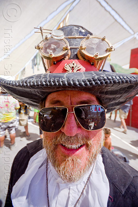 steampunk hat - burning man 2012, beard, burning man, elmer, steampunk, stovepipe hat