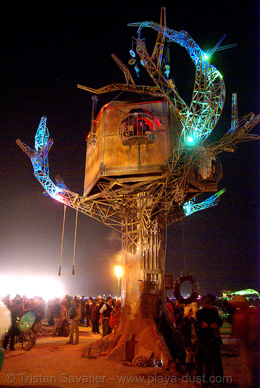 the steampunk tree house - burning man 2007, art installation, burning man, night, steam tree house, steampunk tree house