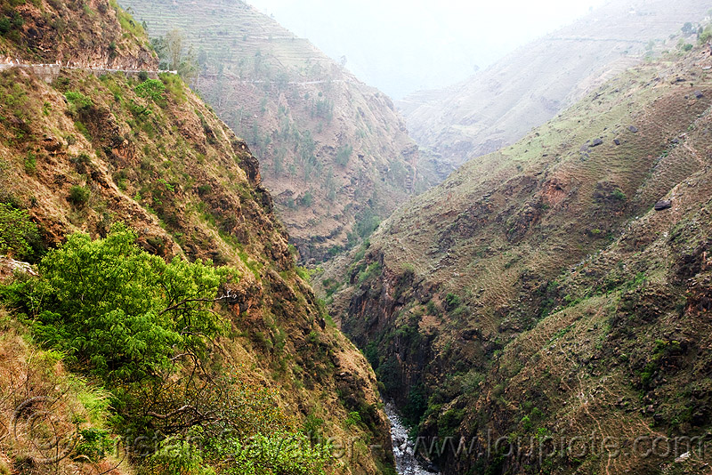 steep canyon - road to ani - near jalori pass (india), ani, canyon, gorge, river, road, steep, valley