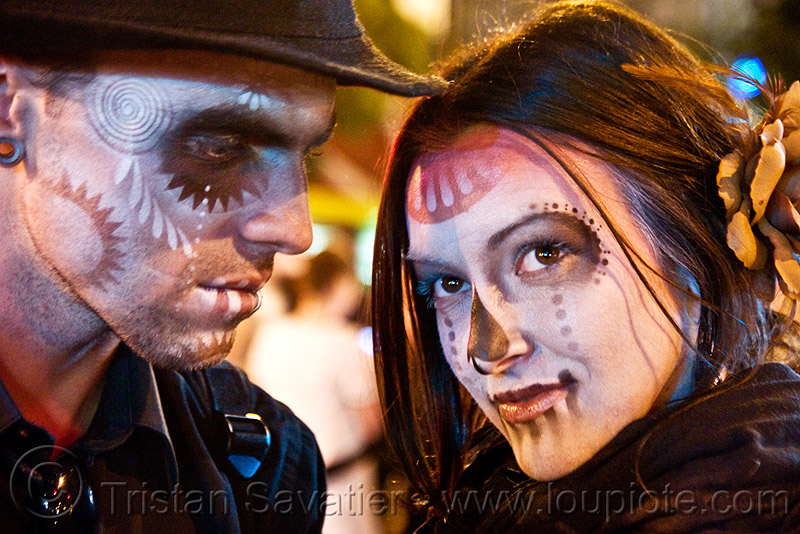stencil airbrush skull makeup couple - dia de los muertos - halloween (san francisco), airbrush, couple, day of the dead, dia de los muertos, face painting, facepaint, galen, halloween, hat, icarus zaure, jessica, man, night, stencil, sugar skull makeup, woman