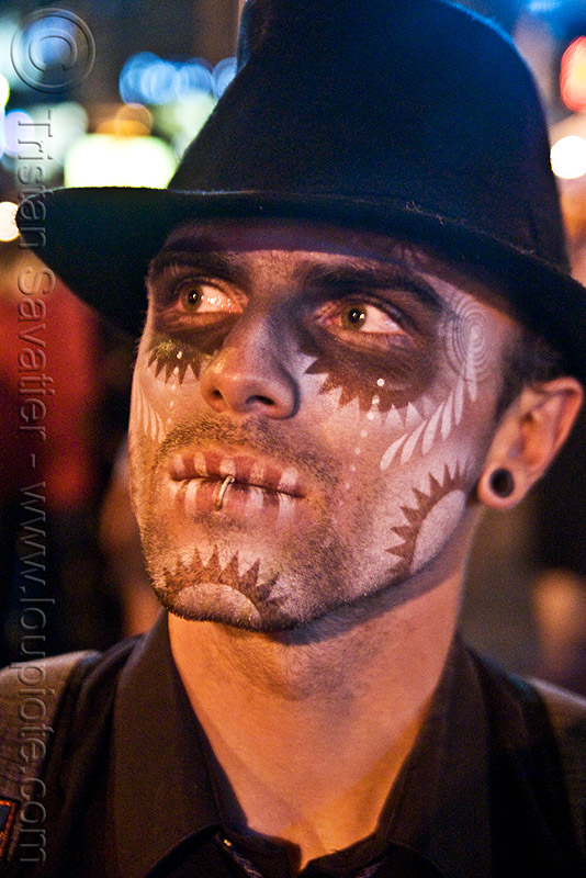 stencil airbrush skull makeup - dia de los muertos - halloween (san francisco), airbrush, day of the dead, dia de los muertos, face painting, facepaint, fedora hat, galen, gangster hat, halloween, icarus zaure, makeup, man, night, stencil