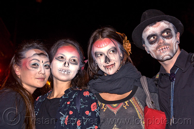 stencil airbrush skull makeup - four - dia de los muertos - halloween (san francisco), day of the dead, face painting, facepaint, galen, icarus zaure, jessica, man, night, people, sugar skull makeup, women