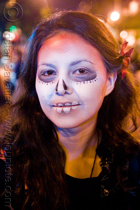 stencil airbrush skull makeup - girl - dia de los muertos - halloween (san francisco), day of the dead, face painting, facepaint, icarus zaure, night, people, woman