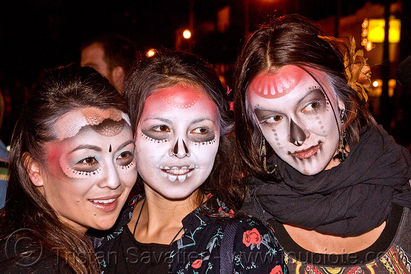 stencil airbrush skull makeup - three women - dia de los muertos - halloween (san francisco), day of the dead, face painting, facepaint, icarus zaure, jessica, night, people, sugar skull makeup
