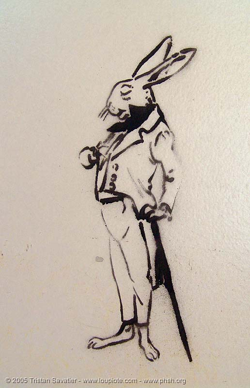 stencil-alice-rabbit - abandoned hospital (presidio, san francisco) - phsh, abandoned building, abandoned hospital, alice, decay, graffiti, presidio hospital, presidio landmark apartments, rabbit, stencil, street art, trespassing, urban exploration
