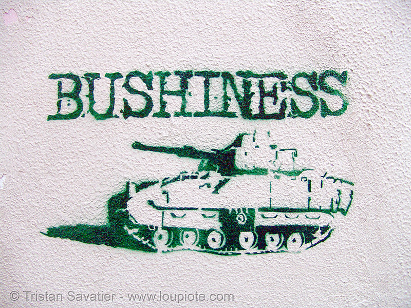 stencil graffiti (granada, spain), andalucía, army tank, bushiness, george w bush, graffiti, granada, military, stencil, street art