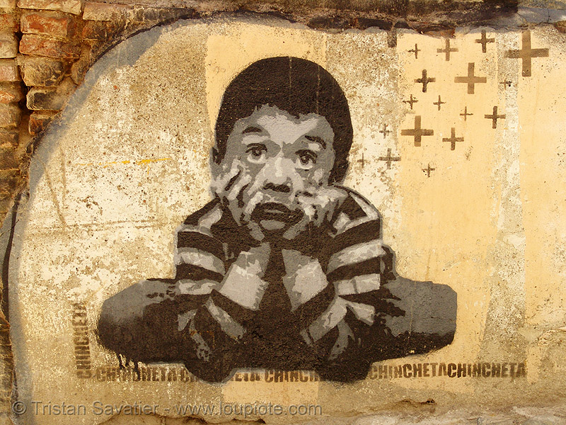 stencil graffiti (granada, spain), andalucía, children, chincheta, graffiti, granada, kid, stencil, street art