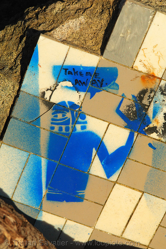 stencil graffiti (san francisco), blue, graffiti, lands end, stencil, street art, take me away