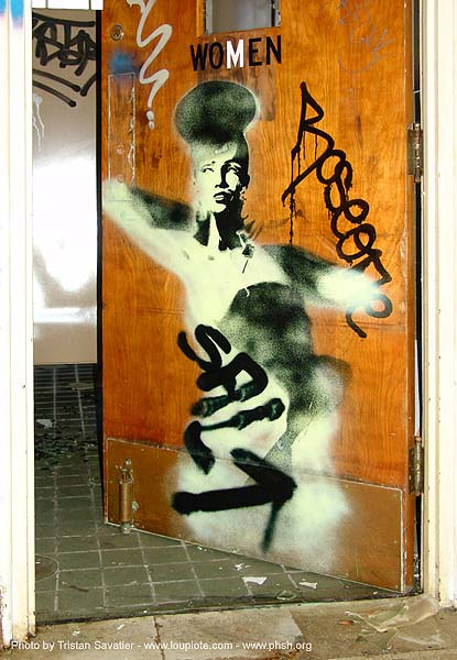 stencil-salt - door - abandoned hospital (presidio, san francisco) - phsh, abandoned building, abandoned hospital, decay, graffiti, presidio hospital, presidio landmark apartments, salt, trespassing, urban exploration
