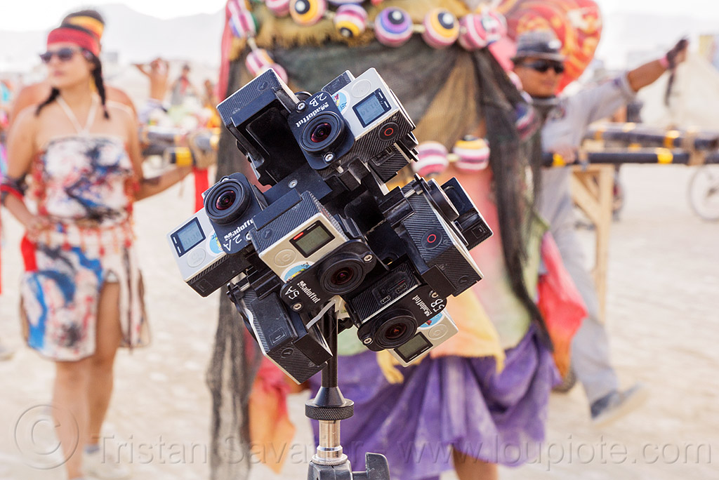 stereoscopic 3D immersive 360 degree video - burning man 2016, burning man, cameras