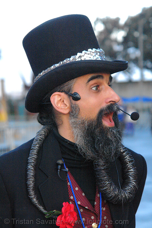 steven raspa - burning man fire arts exposition 2006, beard, handfree microphone, hat, headset, people, stovepipe hat