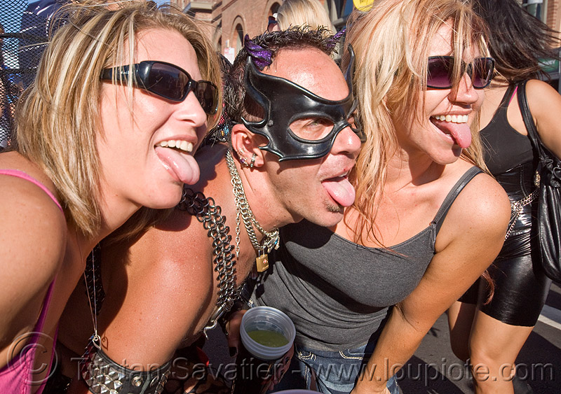 sticking tongue out, man, sticking out tongue, three, tongues, women